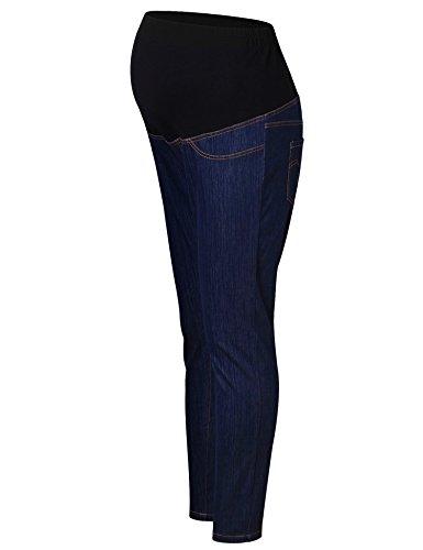 Ginkana Schwangerschafts-Jeans, schmales Bein über dem Bauch, Leggings, dehnbar, Bootcut Pants - Blau - XX-Large Slim Leg Maternity Legging