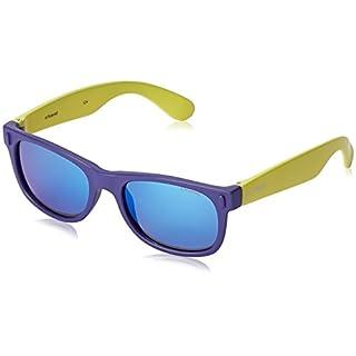 Polaroid Unisex-Kinder P0115 JY UDF Sonnenbrille, Blau (Bluette Lime/Grey Blue Mirror Polarized), 46