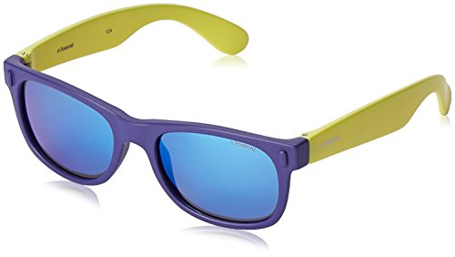 Polaroid Unisex-Kinder P0115 JY UDF Sonnenbrille, Blau (Bluette Lime/Grey Blue Mirror Polarized), 46