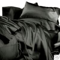 New King Size Satin Sheet Set - Includes 1 fitted sheet, 1 flat sheet and 2 pillow cases - Black by Madison Ind. -