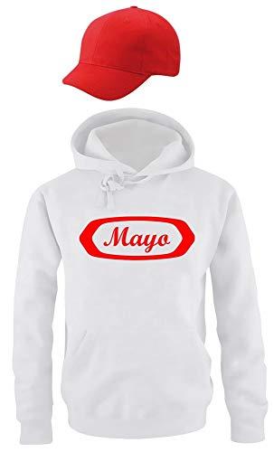 Coole-Fun-T-Shirts Mayo Kostüm Mayonaise Set Hoodie Weiss Cap Rot Gr.152cm