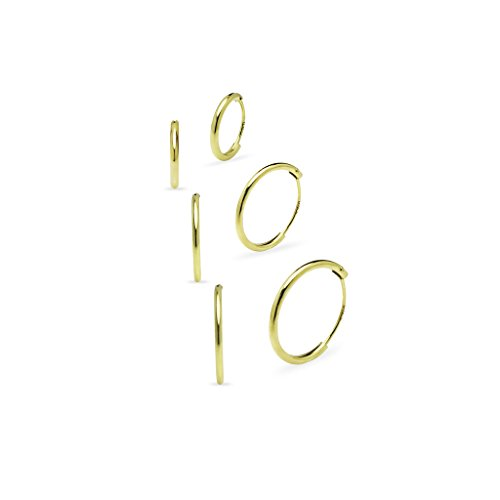 925 Sterling Silver 3 Pair Set of 8 10 12mm Sleeper Round Thin Endless Hoop Earrings (Endless Hoop Ohrringe 14mm)