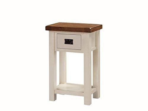 Alba Painted Oak Telephone Table - Small Console Table with Drawer - Finish : Oak / Stone White Painted Finish - Hallway - Living Room Furniture