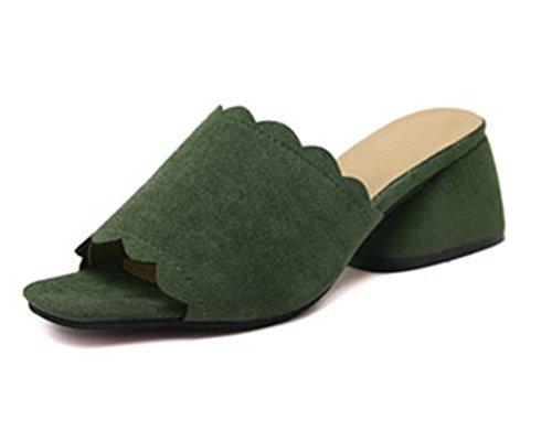 Sommer Pantoffel Frau in dem rauen mit der Dame mit offenen Sandalen und Pantoffeln Wortfischkopf Schuhen Grün
