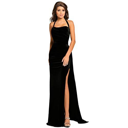 DROHE-Q Abendkleid Damen Party Kleid Formale Kleidung Maxi Elegant Samt Lange Schlank Besondere Gelegenheit Schwarz -