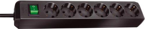 Brennenstuhl Eco-Line 6-fach Steckdosenleiste (Steckerleiste mit Kindersicherung, Schalter und 1,5 m Kabel) schwarz -