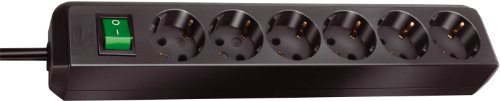 Brennenstuhl 149908 - Regleta con 6 tomas + interruptor, color negro