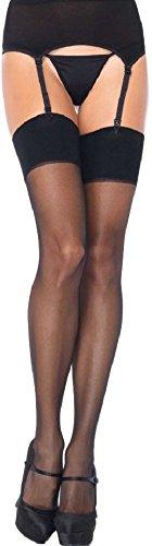 *Leg Avenue Damen plus size Set Strumpfbandgürtel und Strümpfe schwarz transparent Einheitsgröße ca. 42 bis 44*