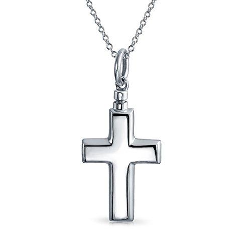 herung Medaillon Memorial Urn Kreuz Anhänger Halsketten Für Damen Asche Halter Sterling Silber ()