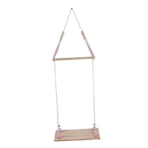 LOVIVER Wandbehang Aus Holz Runde Perlen Regale Schwimmende Wandregal Schindeln Haken Kleiderbügel - Pink und Weiß - Holz-mantel Schwimmende