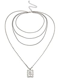 LUREME Vintage Simple Rectangular Rose Medalla Cadena de múltiples Capas Collar Largo para Mujeres (nl006177)