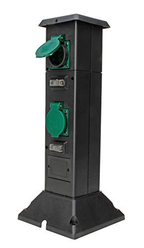 Energiesäule mit 4 Schutzkontaktsteckdosen mit Klappdeckel, 4 Ein/AusSchalter, inklusive Erdspieß, Gartensteckdose, Außensteckdose, schwarz/grün, IP44, 145335018