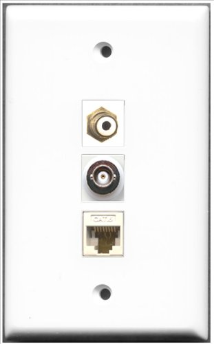 Decorator 1 Jack Single Gang (RiteAV - 1 Port RCA und 1 Port BNC und 1 Port Cat6 Ethernet White Wall Plate)