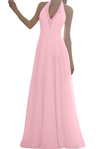 Ivydressing Damen Einfach Schleppe Neckholder Chiffon Lang A-Linie Brautkleider Hochzeitskleider Rosa