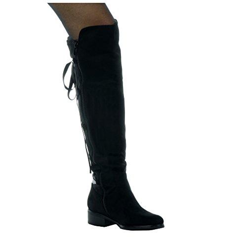 Angkorly - Scarpe da Moda Stivali - Scarponi cavalier flessibile donna Lacci in raso Tacco a blocco tacco alto 3.5 CM - soletta Foderato di Pelliccia Nero
