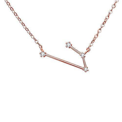 Clearine Halskette Damen 925 Sterling Silber Cubic Zirconia 12 Sternbilder Sternzeichen Horoskop ''Widder'' Anhänger Hals-Schmuck Rose-Gold-Ton -