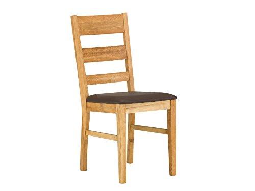 massivum Esszimmer-Stuhl Charles 42x95x46 cm aus Wild-Eiche Massiv-Holz natur geölt gepolstert