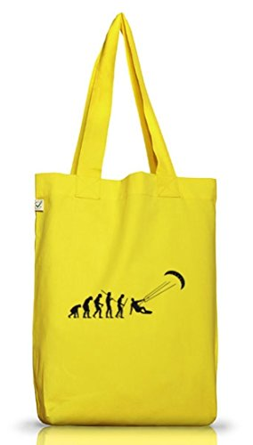 Shirtstreet24, EVOLUTION KITESURFEN, Kitesurfer kiten Jutebeutel Stoff Tasche Earth Positive Yellow