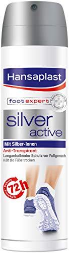 Hansaplast Silver Active Fußspray 150 ml 4er Pack, Fußspray Antitranspirant mit 48h Schutz vor Fußgeruch und Schweiß, Aktiv-Komplex mit Silber-Ionen -