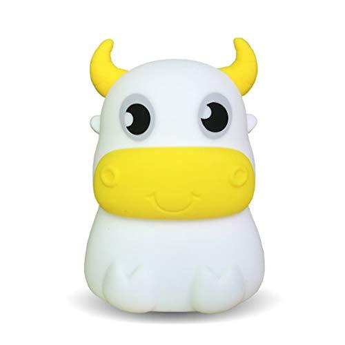 WYJSS Led silikon nachtlicht kreative niedliche Kuh Kinder Geschenk Bunte Schlafzimmer nachttischlampe USB Lade pat licht,Charging-OneSize