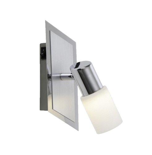 Trio-Leuchten LED-Spot Aluminium gebürstet/chrom, Glas weiß gewischt, inklusiv 1x 5W LED, Schalter direkt an der Leuchte, Maße: 14 x 8 cm 821470105