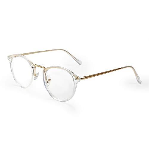 Aroncent Brillengestell für Damen mit transparenten Brillengläsern, sehr leicht, Farbe wählbar Bianco