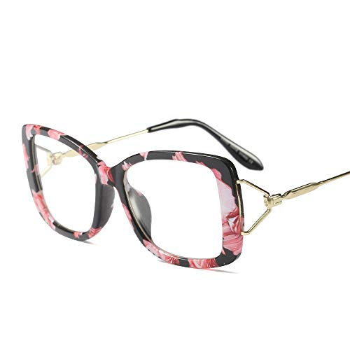 Summer Retro Flat Mirror Ultra Light Myopia Glasrahmen Retro Flat Mirror Mit Großem Rahmen,Saflor/Transparenz
