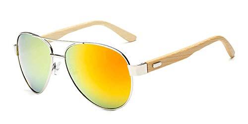 OULN1Y Sport Sonnenbrillen,Vintage Sonnenbrillen,Bamboo Sunglasses Men Wooden Metal Women Mirror Sun Glasses for Men Drive Retro