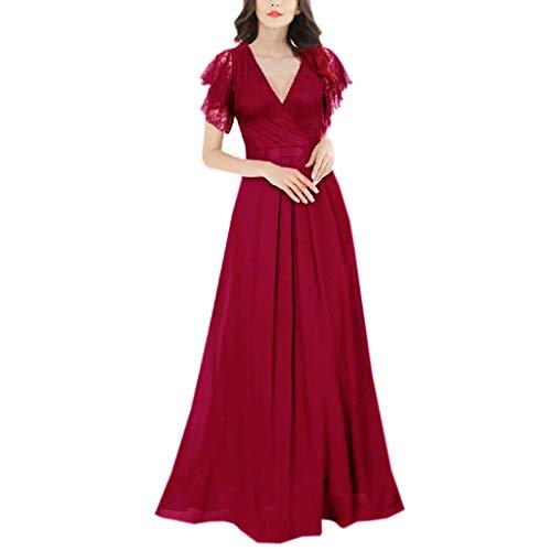 Vimoli Kleider Damen Damen Elegant Kleider Spitzenkleid Langarm Cocktailkleid V-Ausschnitt Knielang Rockabilly Kleid(rot,M)