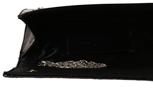 Girly HandBags Kunstleder-Handtasche-Lackleder Stepp Elegante Hochzeits-Abschlussball-Schulter-Kette Designer Schwarz