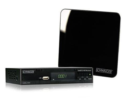 SCHWAIGER -562- DVB-T2 Receiver + Antenne, digitaler HD-Receiver mit aktiver Zimmerantenne (integrierter Verstärker 25-45dB), Receiver mit FTA (Free to Air) und H.265 / HEVC Codec