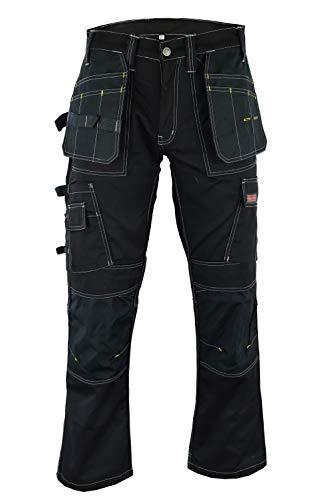 Wright Wears Herren Arbeitshose Schwarz Schwerlast-Multi-Taschen & Kniepolstertaschen Wie Dewalt (DE: 50 / S (34W / 29L Größe Fertigung))