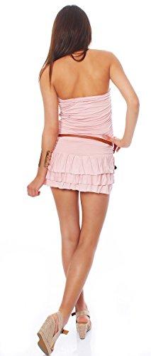 10013 Fashion4Young Damen Minikleid in Bandeau-Optik Kleid dress mit Gürtel verfügbar in 5 Farben Altrosa