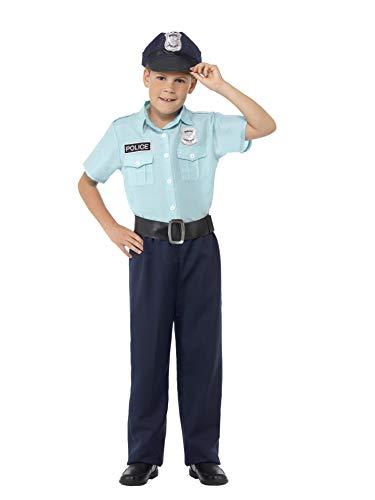 Smiffys 44399L - Kinder Jungen Polizei Offizier Kostüm, Alter: 10-12 Jahre, blau