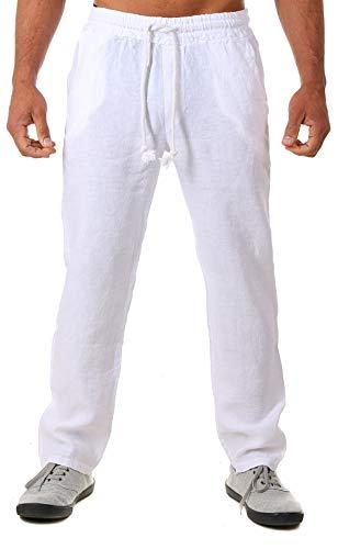 Young & Rich Herren Leinenhose Sommerhose 100% Leinen mit Kordelzug Straight Regular Fit S4103, Grösse:M, Farbe:Weiß -