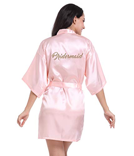 Hammia Vestido de Novia de Satén Robe Mujeres Corto Vestido de Dama de Honor Pijama de Seda Corto Puro del Traje del Kimono de Las Mujeres para el Banquete de Boda de la Novia