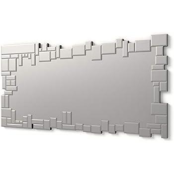 DEKOARTE E019 Specchio moderno da parete decorativo con luna centrale grande 120x80 cm