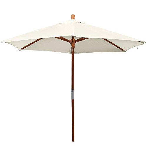 anndora® 21001VSStandardsonnenschirm für Garten oder Balkon, 2,1m, rund, aus Holz, 180g/m², Farbe wählbar