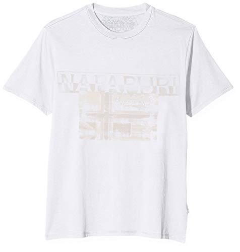 Napapijri Herren SAWY Bright White T-Shirt, Weiß 002, Medium (Herstellergröße: M)