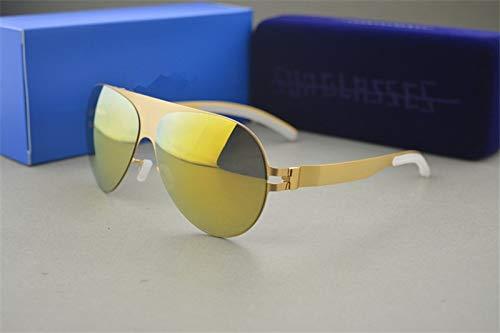 LKVNHP Hochwertige Sonnenbrille Markendesigner Franz Promi Handgefertigte Spiegel Sonnenbrille Männer & Frauen Gold Flash Pilot Aviator SonnenbrilleGold Vs Gold