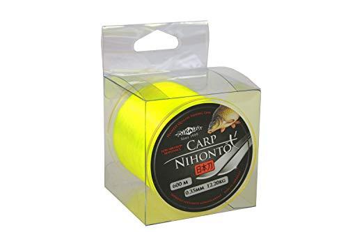"""600m """" NIHONTO CARP FLUO """"gelbe monofile sehr glatte Angelschnur Karpfenschnur Feederschnur erhältlich von Ø0,23 bis Ø0,40mm (Ø0,35mm / Tragkraft 12,20kg)"""
