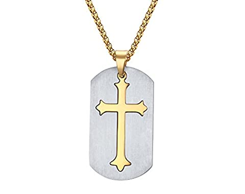 Vnox Men's Cross Inlay Dog Tag Pendant Necklace Two Tone