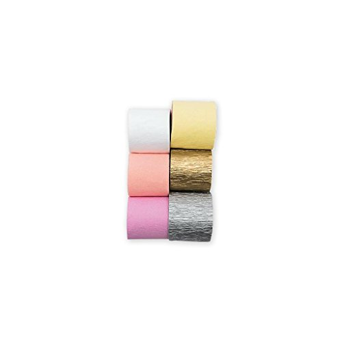 6 Krepp Papier Bänder Kollektion Yey - Pastell/silber/gold (Krepp-perlen)