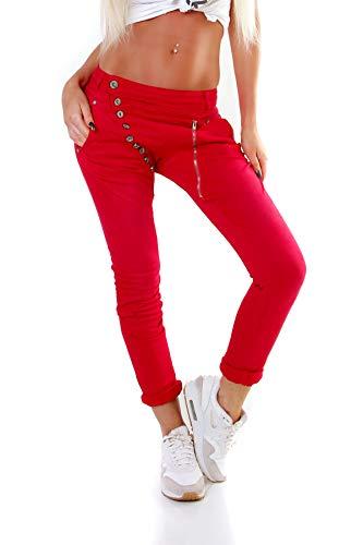 Fashion4Young 5857 MOZZAAR Damen Jeans Hose Röhrenjeans Haremshose Röhre Damenjeans Hüftjeans (XL=42, Rot) -