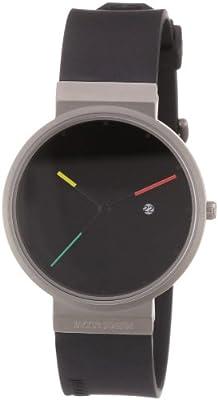 Reloj de caballero Jacob Jensen Titanium Series 640 de cuarzo, correa de goma color negro de Jacob Jensen