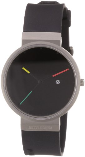 Jacob Jensen Titanium Series 640 – Reloj de caballero de cuarzo, correa de goma color negro