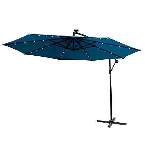 AUFUN Alu Sonnenschirme 350cm mit Solarbetriebene Warmweiß LED UV Schutz 40+ - Blau balkonschirm gartenschirm höhenverstellbarer (Blau mit solar LED)