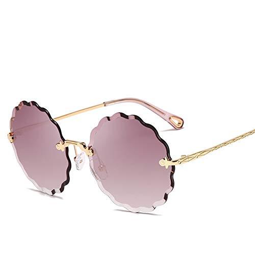 Yuanz Runde Sonnenbrille weibliche Blume geformt Metall randlose linsen welligkeit Mode Marine verlaufsgläser uv400,S140