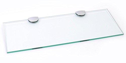 Lunga mensola in vetro con supporti cromati, ideale per bagno, camera da letto, cucina, ufficio, vetro, 400mm x 150mm