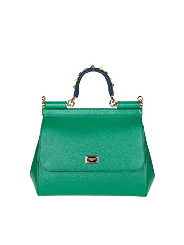 Dolce-E-Gabbana-Womens-BB6002AI3528H526-Green-Leather-Handbag